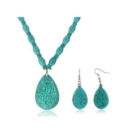 "22""Blue  Simulated Turquoise  Howlite Necklace w/ Drop Shape Pendant & Earring Set"
