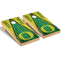 Oregon Ducks 2' x 4' Weathered Triangle Cornhole Board Tailgate Toss Set - No Size