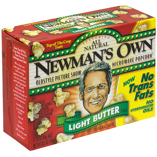 Newman's Own Light Butter Flavor Microwaveable Bag Popcorn, 10.5 oz (Pack of 12)