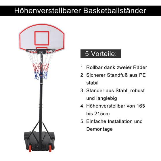 Costway Adjustable Basketball Hoop System Stand Kid Indoor Outdoor ...