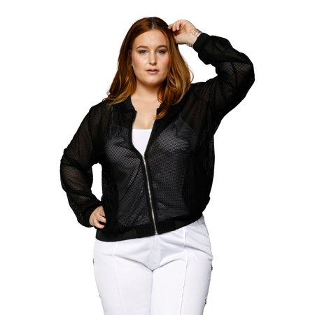 0a4f375a99bab Xehar - Xehar Women s Plus Size Casual Stylish Lightweight Mesh Bomber  Jacket - Walmart.com