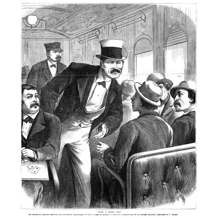 Train Travel 1873 Ntake A Hand Sir A Traveling Gambler Challenging A Fellow Train Passenger To Play A Game Of Euchre Engraving American 1873 Rolled Canvas Art     24 X 36