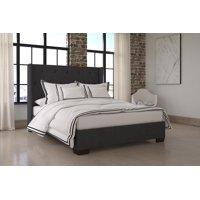DHP Eden Wingback Upholstered Platform Bed, Grey Linen, Multiple Colors