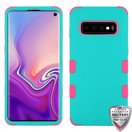 Samsung Galaxy S10 Phone Case Tuff Hybrid Shockproof Impact Armor Rubber Dual Layer Hard Soft Rugged TPU Protective Case Cover Teal Green Pink Phone Case Cover for Samsung Galaxy S10 (6.1 inch) (samsung galaxy light phone case)