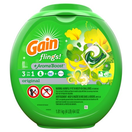 Gain Flings Original, Laundry Detergent Pacs, 81 ct.