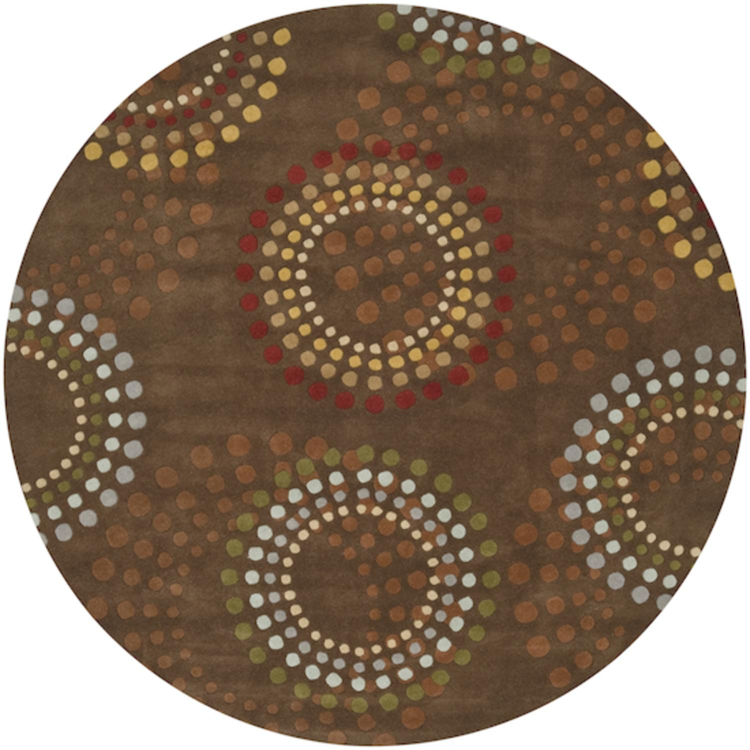 8' Blomma Fervour Contemporary Brown and Yellow Wool Round Area Throw Rug