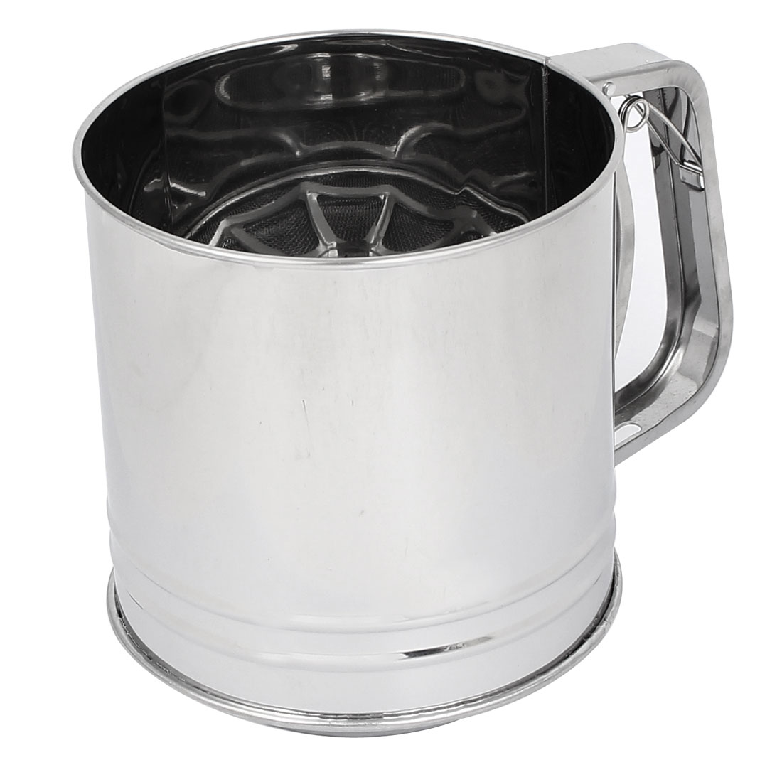 Kitchen Baking Metal Trigger Handle Flour Sugar Mesh Sifter Shaker 1000ml