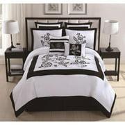 Private Label Estella Black/ White 8-piece Embroidered Comforter Set
