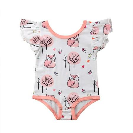 White Owl Girl (Infant Baby Girl Owl Ruffle Short Sleeve Cotton Romper Bodysuit Tops)