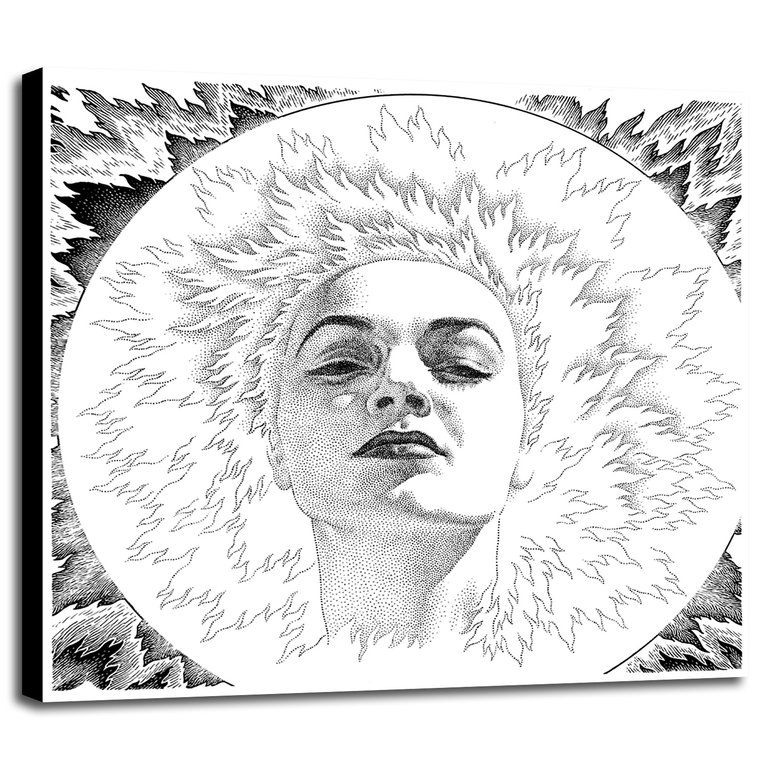 34.5x36 Frame USA Sunburst Girl Print 34.5x36 by Virgil Finlay in a Canvas Stretched on 1.5 Bars-VIRFIN272207 Bars Canvas Stretched on