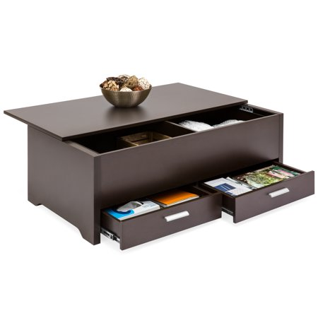Best Choice Products Modern Multifunctional Coffee Table Furniture for Living Room, w/ 3 Storage Compartment Shelves - Espresso ()