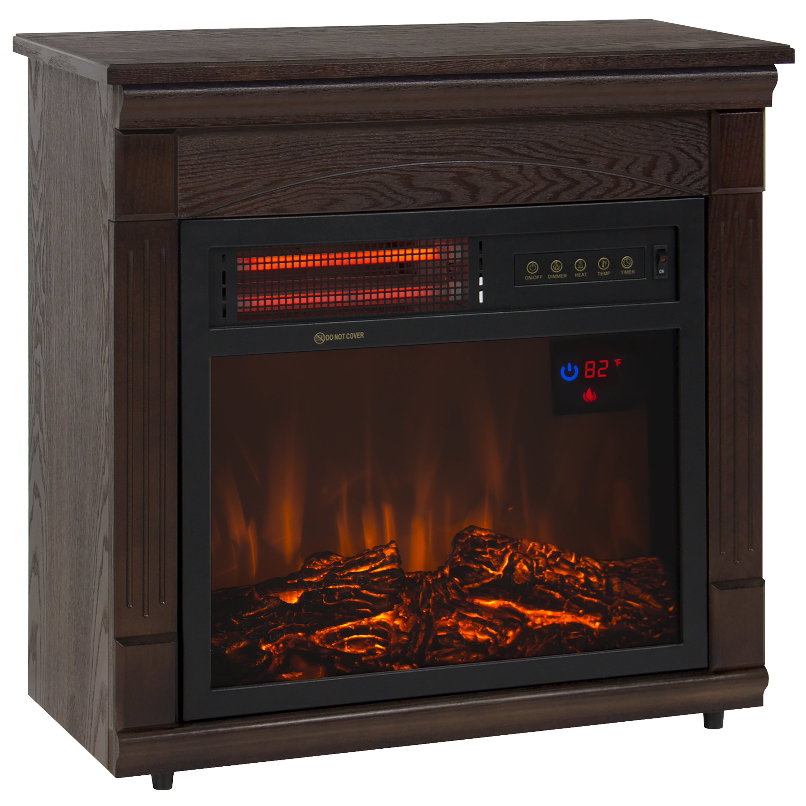 Best Choice Products Heat Adjustable 1500W Electric Fireplace Heater W/ Remote - Dark Walnut Finish