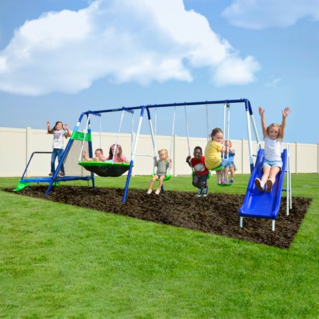 Sportspower Mountain View Metal Swing, Slide, Flying Saucer and Trampoline Set
