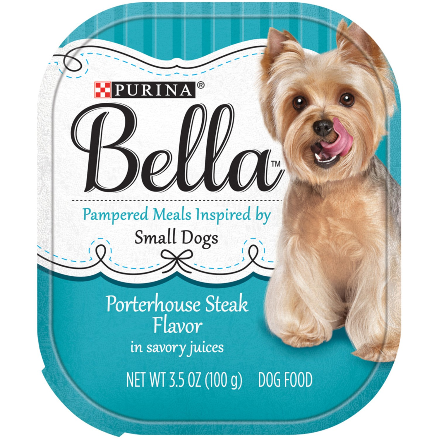 Purina Bella Porterhouse Steak Flavor in Savory Juices Small Breed Wet Dog Food Trays, 3.5-Oz, Case of 12