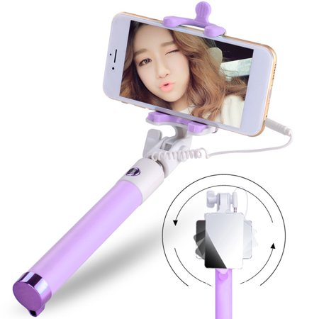 extendable selfie stick monopod tripod for phone wired selfy stick with mirror. Black Bedroom Furniture Sets. Home Design Ideas