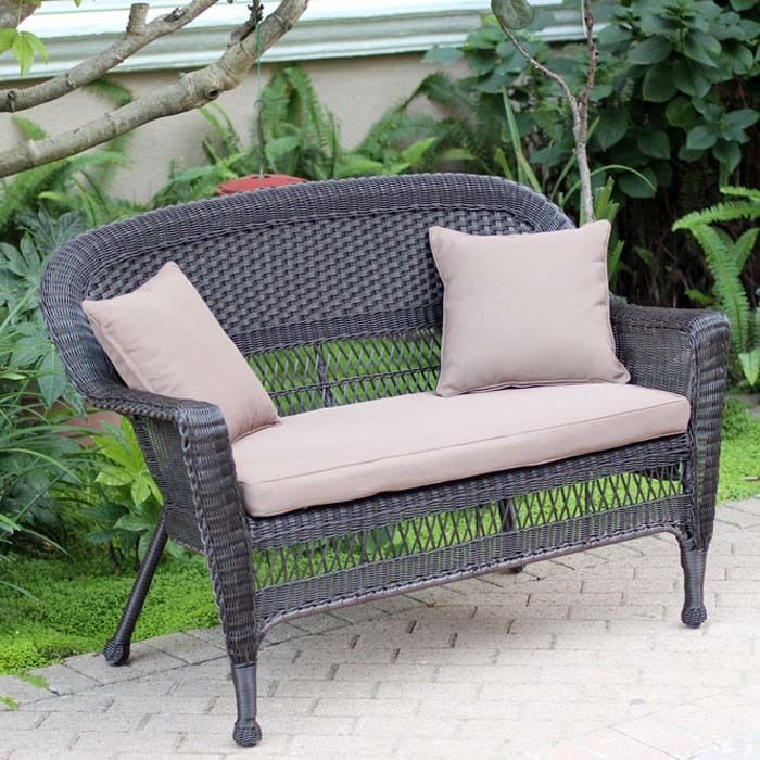 Resin Wicker Patio Loveseat Cushion and Pillows by Jeco by Jeco