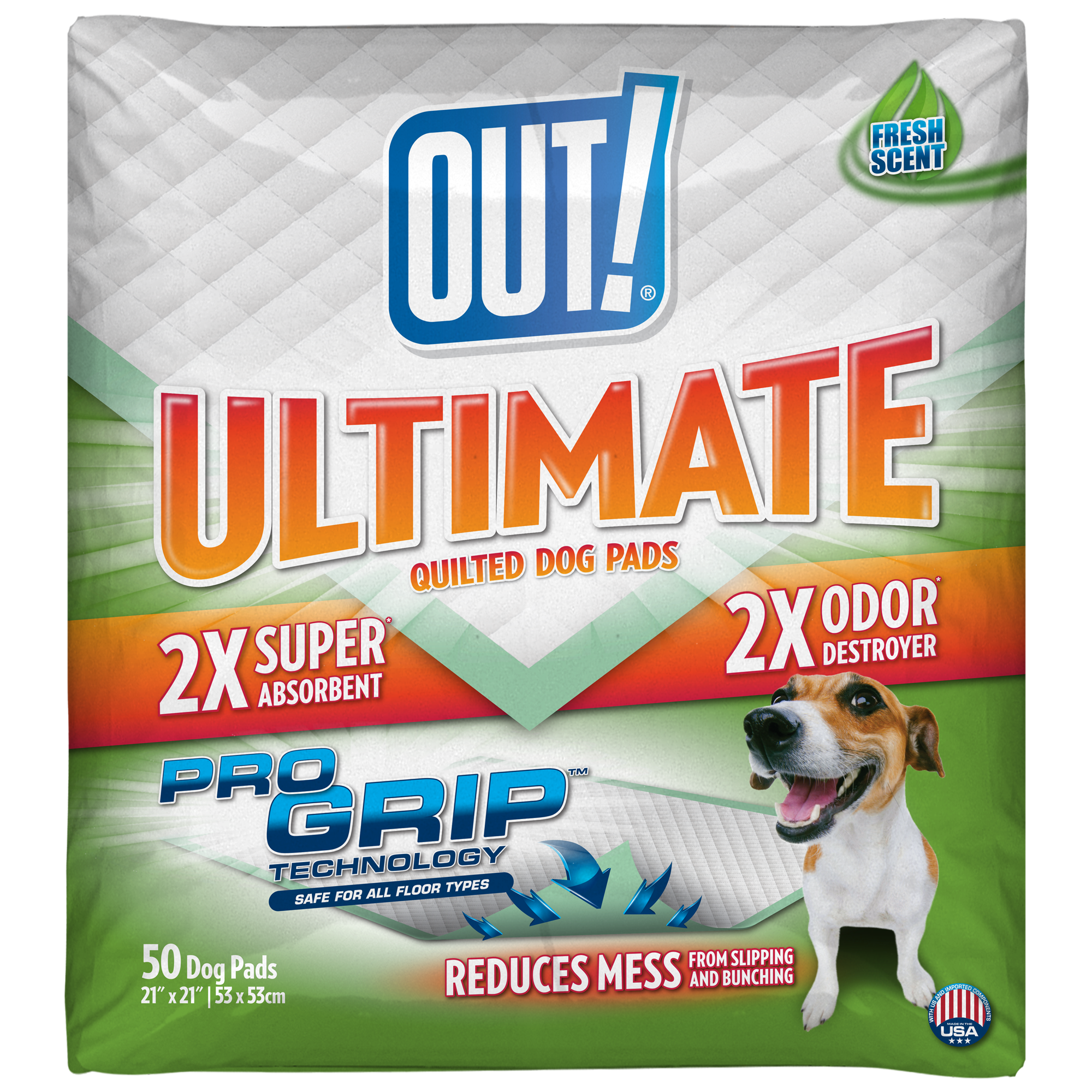 OUT! Ultimate Pro-Grip Dog Pads, 21 x 21, 50 pads