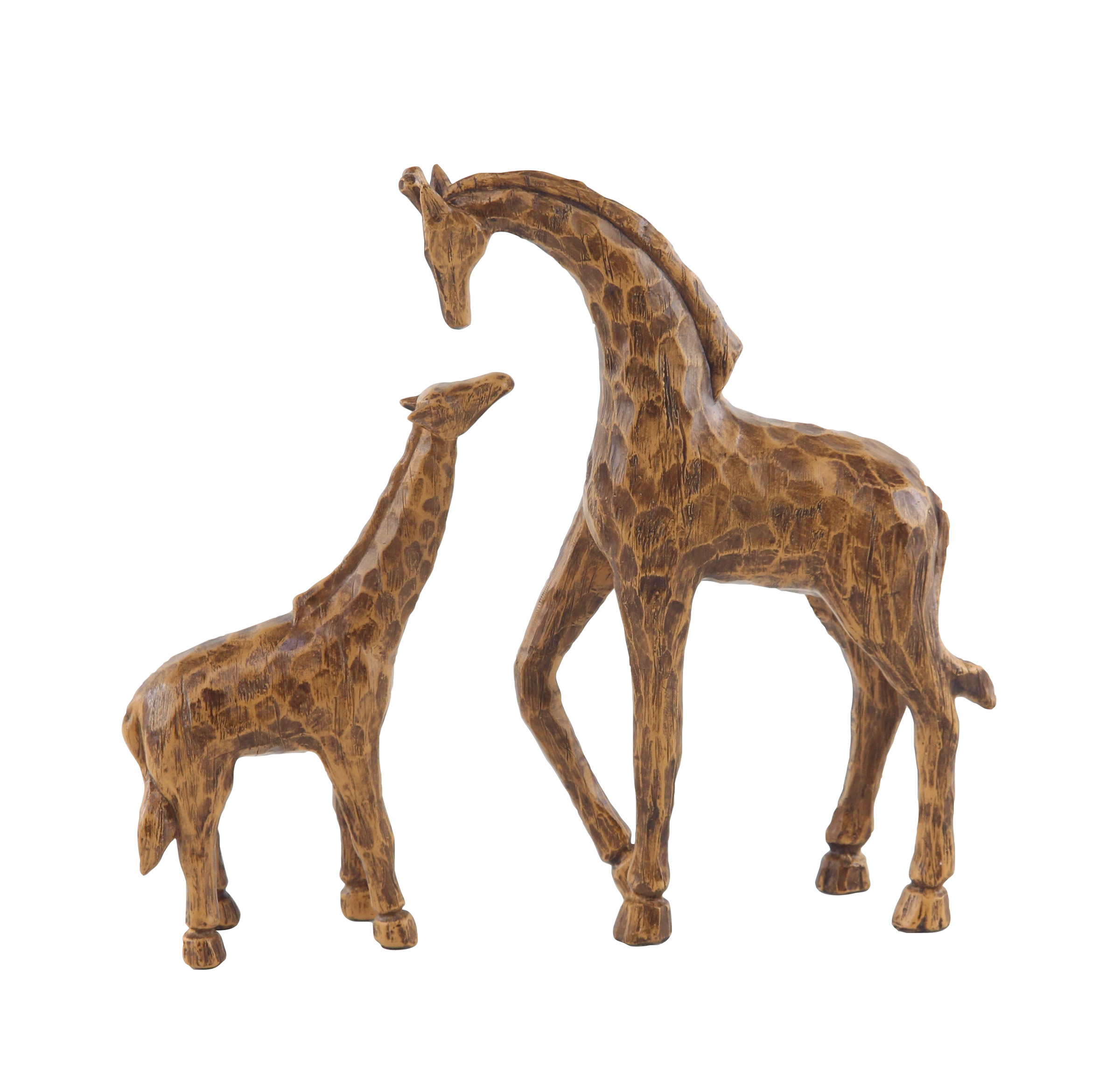 Decmode Eclectic 8 And 11 Inch Brown Polystone Stylized Giraffe Sculptures - Set of 2