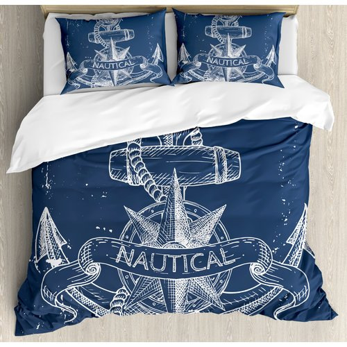 Ambesonne Marine Nautical Knot Compass Anchor Pattern Sea World Ocean Life Grunge Illustration Duvet Cover Set