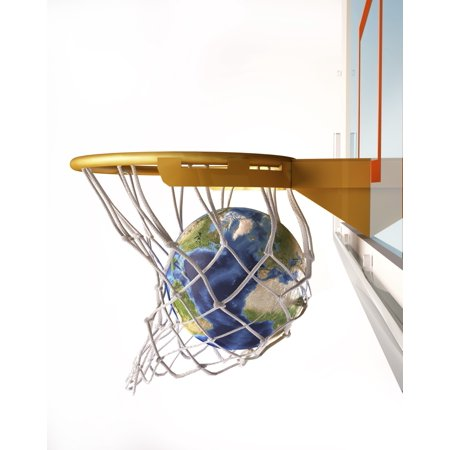 3D rendering of planet Earth falling into a basketball hoop Stretched Canvas - Leonello CalvettiStocktrek Images (13 x 16) (3d Planets)