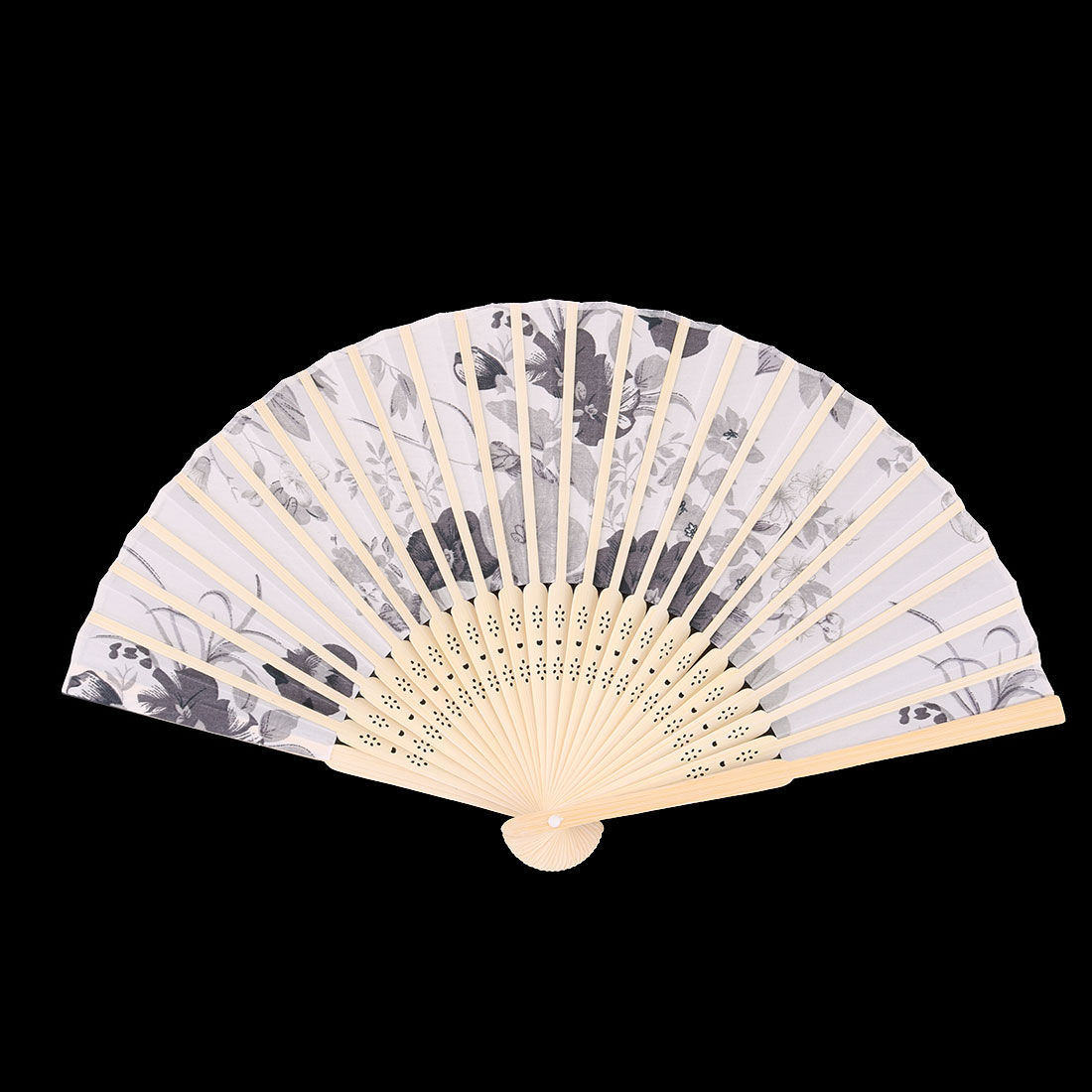 Wedding Bamboo Frame Flower Pattern Decorative Folding Dancing Hand Fan Gray - image 3 de 4