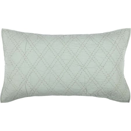 Majestic King Sham - Sea Glass Green Farmhouse Bedding Casey Cotton Hand Quilted Cambric Solid Color King Sham