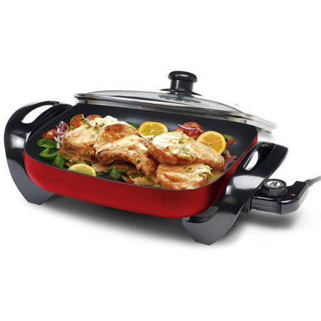 Maxi Matic Elite Gourmet;12 x 12 Electric Skillet with Glass Lid