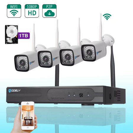 SUNZEO Wireless Security CCTV Surveillance Systems(WIFI NVR Kits)- Wireless WIFI Indoor Outdoor IP Cameras,P2P,65FT Night Vision, 1TB HDD (Wired Power Supply