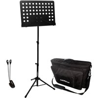 ChromaCast Pro Series Adjustable Conductor Sheet Music Stand with Padded Travel Bag and Clip-On LED Light