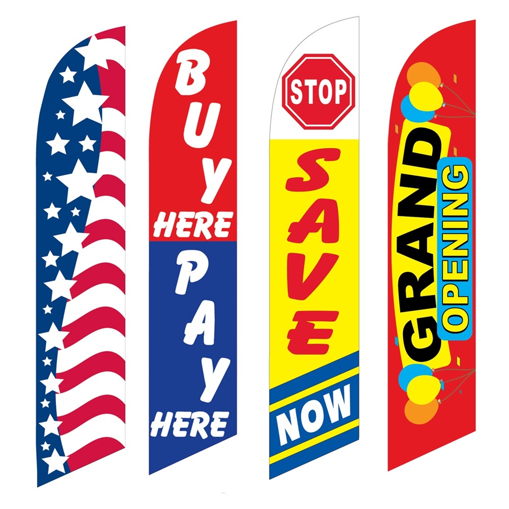 4 Advertising Swooper Flags Patriotic Buy Pay Here Save Now Grand Opening