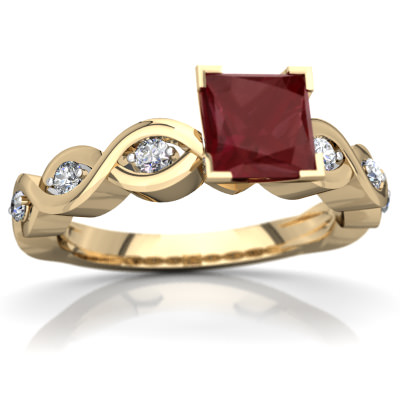 Ruby Infinity Engagement Ring in 14K Yellow Gold by