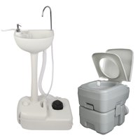 Ktaxon Upgraded Portable Sink and Toilet Combo, 5 Gal Hand Washing Station & 5.3 Gal Flushing Toilet, for Camping/RV/Boat/Road Tripper/Camper