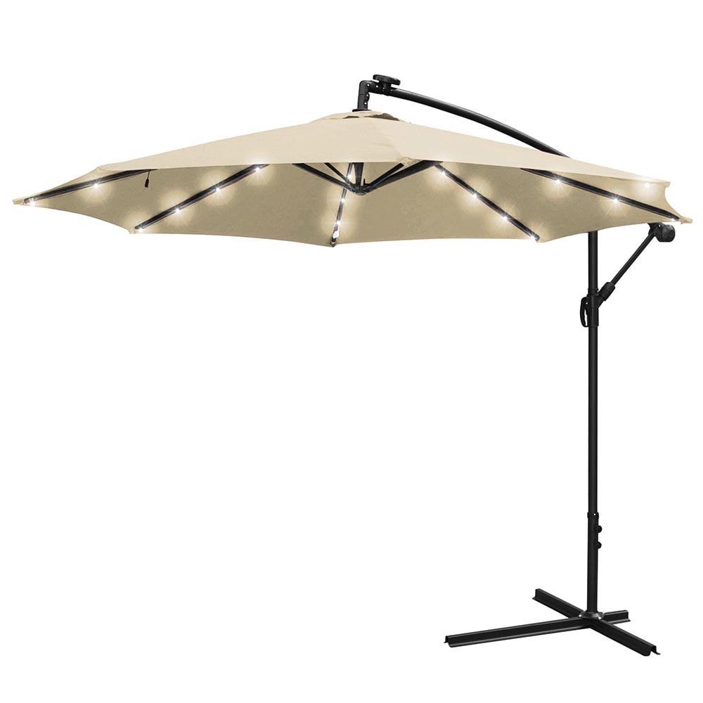 Yescom 10FT Solar Power LED Roma Patio Offset Umbrella Cr...