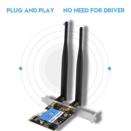 WALFRONT PCIE Network Card 433Mbps Dual Band 2.4G/5G + Bluetooth 4.0 Bluetooth Network Card for Desktop, Dual Band PCIE Wireless Card, PCIE Expansion Card - Pcie Laptop Wireless Card