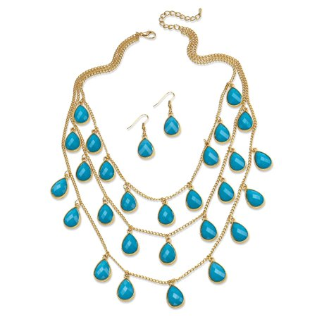 Cabochon Jewelry Set - Aqua Teardrop Checkerboard-Cut Cabochon Jewelry Two-Piece Set in Yellow Gold Tone