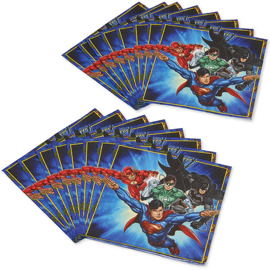 Justice League Lunch Napkins, 16 Count, Party Supplies