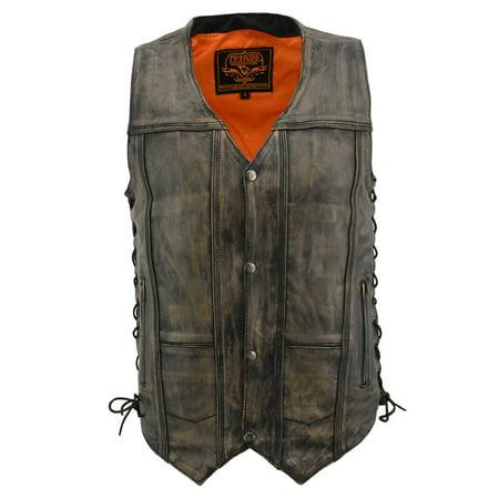 mens distressed leather 10 pocket vest Ultimate Leather Vest