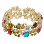 Goldtone with Multicolors Hearts & Roses Bangle Bracelet