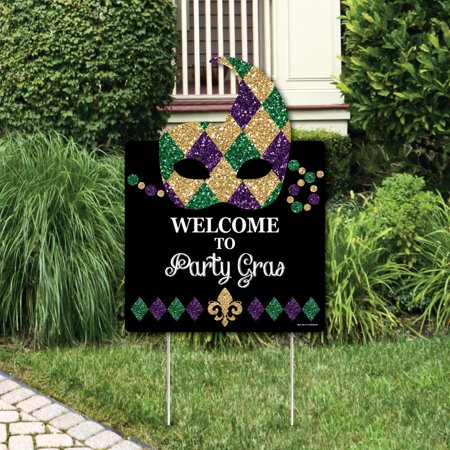 Mardi Gras - Party Decorations - Masquerade Party Welcome Yard - Mardi Gras Table Decorations Ideas