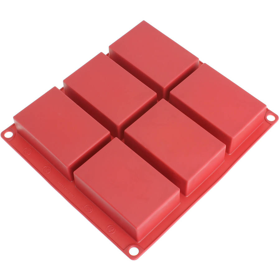 Freshware 6-Cavity Rectangle Soap Bar and Resin Premium Silicone Mold, SP-100RD