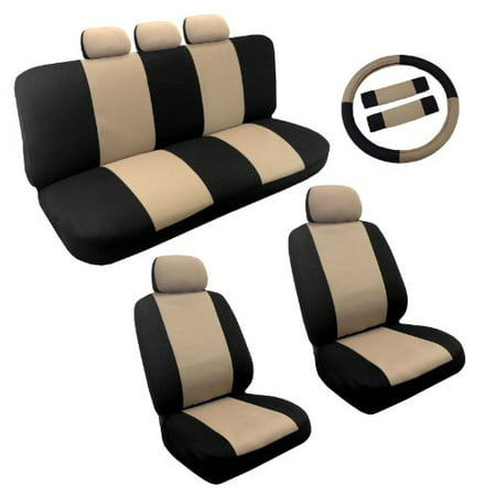 Dual Color Tan Black Two Tone Car Seat Covers Steering Wheel Set 14Pc Racing For Honda Civic