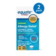 Equate Non-Drowsy Allergy Relief Loratadine Tablets, 10 mg, 45 Tablets, 2 Pack