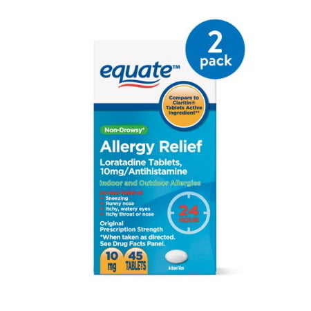 (2 Pack) Equate Non-Drowsy Allergy Relief Loratadine Tablets, 10 mg, 45