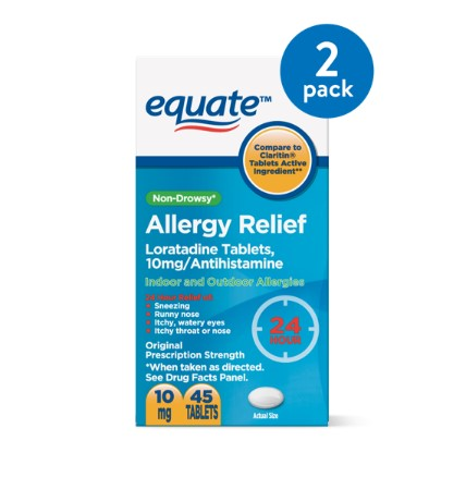 (2 Pack) Equate Non-Drowsy Allergy Relief Loratadine Tablets, 10 mg, 45 Ct