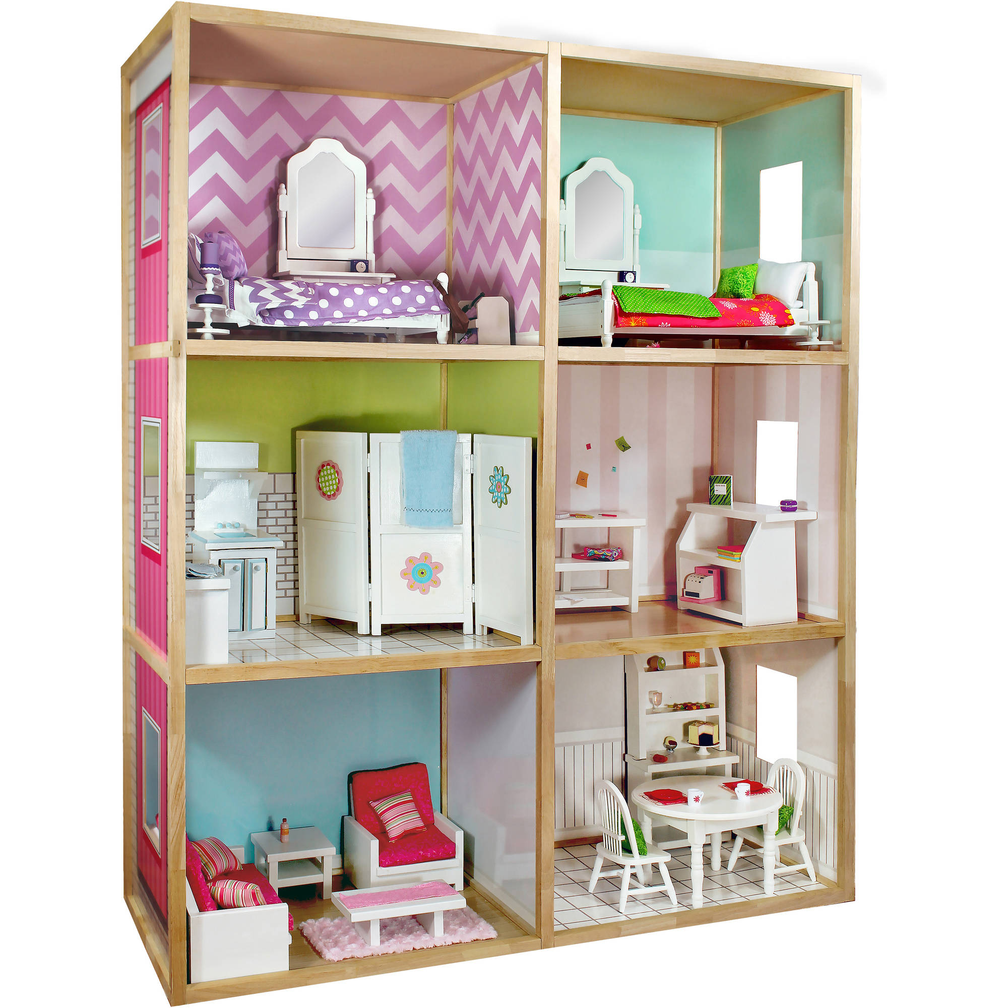 Miraculous My Girls Dollhouse For 18 Dolls Modern Style Walmart Com Home Interior And Landscaping Ologienasavecom