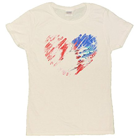567923e84 Gildan - Ladies 4th Of July Patriotic Hand Over USA Flag Heart Distressed T- Shirt (Blended White, Small) - Walmart.com
