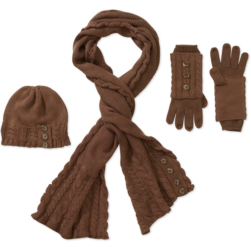 Generic Women's 3 Piece Cable Knit Set - Scarf,