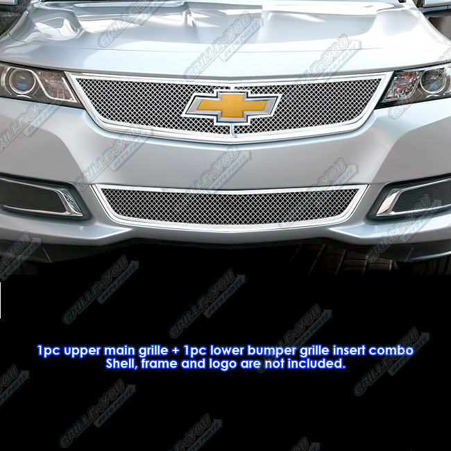 Fits 2014-2015 Chevy Impala Stainless Steel Bolt Over Mesh Grille Combo #C71312T