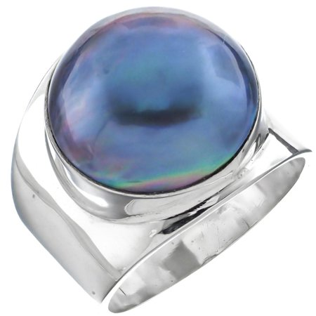 Wide Blue Mabe Cultured Pearl Bali Artisan 925 Sterling Silver Ring