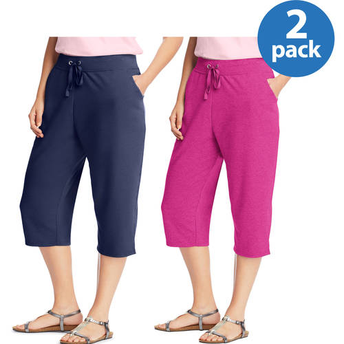 Just My Size Women's Plus-Size French Terry Pocket Capri 2-pack, Value Bundle